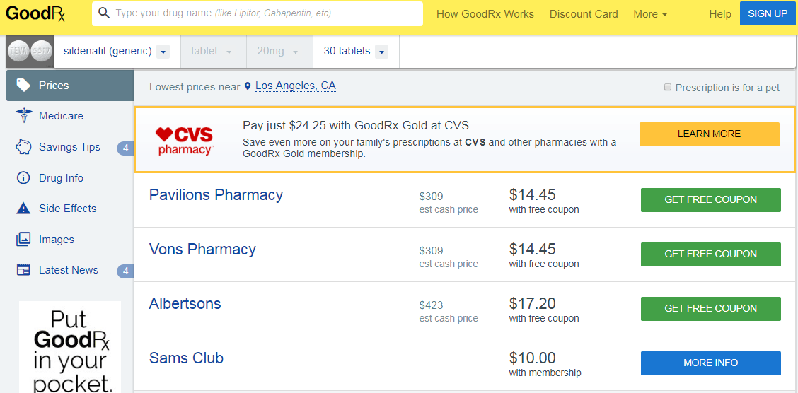 These prices were not available before when Pfizer still has a grip in the Sildenafil market
