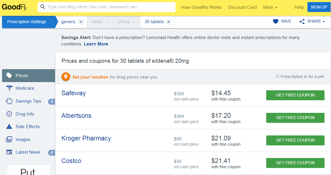 The prices shown above are prices from the local US pharmacies with free coupons from GoodRx