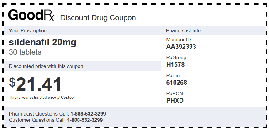 Costco Discount Coupon for Sildenafil 20 mg 30 Tablets
