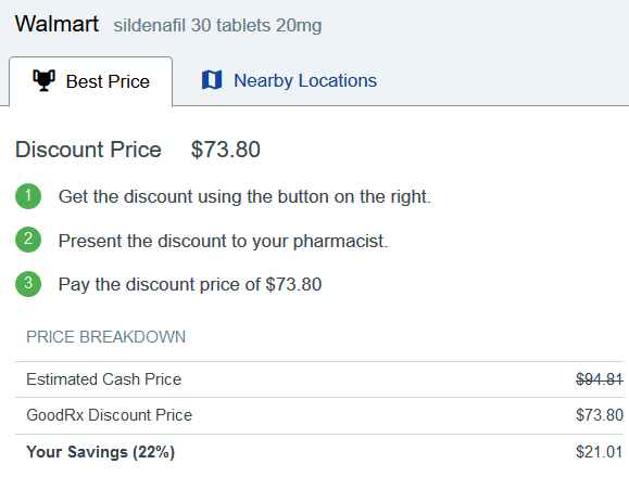 Walmart Price for Sildenafil 20 mg Tablets