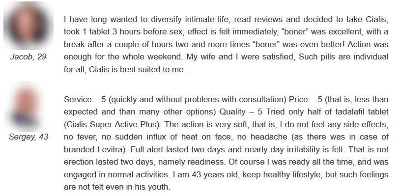 Another user from a different web platform gave a pleasing comment for Cialis Super Active